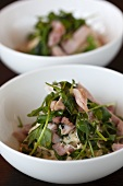 Ham and water cress salad with vinaigrette