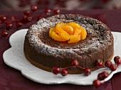 Chocolate cheesecake with mandarins