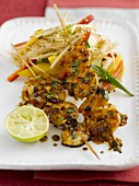 Giant prawn kebab with herbs