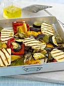 Oven-roasted vegetables with haloumi