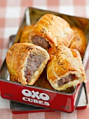 Sausage rolls in a tin tray