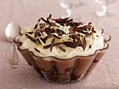 Trifle with chocolate and cream
