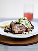 Veal T-bone steak with mushroom ragout