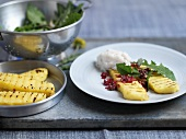 Cod mousse with grilled polenta