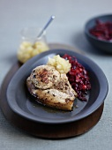 Pork chops with red cabbage