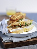 Croque monsieur with grilled salmon