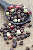 Various peppercorns with a wooden spoon