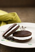 Chocolate moon pies with a marshmallow filling and chocolate icing