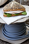 Vollkorn (sourdough rye) bread with turkey and spinach