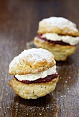 Victoria sponge Whoopie Pies, filled with cream and raspberry jam