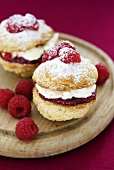 Victoria sponge Whoopie Pies with raspberries, filled with cream and raspberry jam