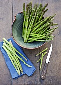 Still life with green asparagus
