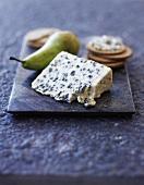 Saint Agur (French blue cheese), crackers and a pear