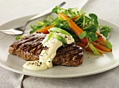 Grilled steak with Bernaise sauce and carrots