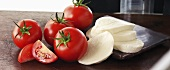 Sliced mozzarella with tomatoes