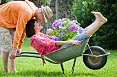 Man pushing woman with hydrangea in wheelbarrow