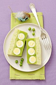 Pea terrine with quail's eggs