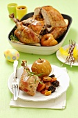 Roast turkey with dried fruits and apples for Easter