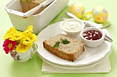 Easter meat loaf with cranberry and horseradish sauce