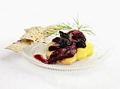 Herring in blackberry sauce, potatoes and crispbreads (Sweden)