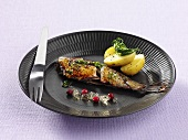 Smoked salted herring with potatoes and wine jelly