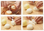 Onions being chopped