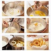 Onion rings being prepared