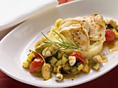 Chicken breast with mashed potatoes and Mediterranean vegetables