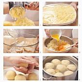 Potato and bread dumplings being prepared