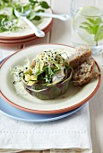 Grilled artichokes stuffed with courgette and Camembert