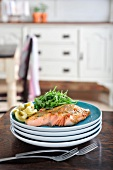 Home-smoked salmon with lemon salsa and rocket