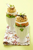 Boiled eggs stuffed with sprout cream