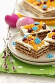 Waffle layer cakes with white chocolate for Easter