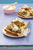 Baked baguette with oyster mushrooms and ricotta