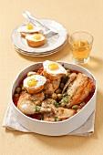 Pollo alla marengo (chicken ragout with quail's eggs and olives)