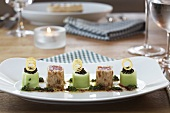 Bavarian sushi with tuna, napkin dumplings and cucumber