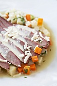 Cured goose breast with root vegetables and horseradish sauce