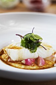 Chicken fillet on potato foam with radishes