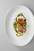 Glazed pork belly and fillet with carrots and vinaigrette