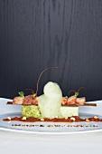 Pickled prawns with pepper vinaigrette and salad