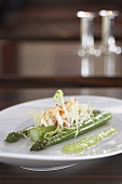 Green asparagus with spider crab tartar