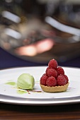 Raspberry tartlet with sorrel-chocolate ice cream