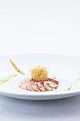 Lobster carpaccio with prawn crackers