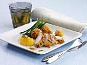 Chicken fillet marinated in elderflower with pumpkin cream