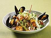 Spelt salad with seafood
