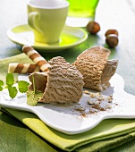 Nougat ice cream with wafer rolls