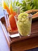 Kiwi sorbet and papaya sorbet