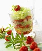 Woodruff granita with strawberries