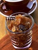 Espresso granita in a glass
