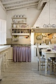 A dining area in a simple country house-style kitchen